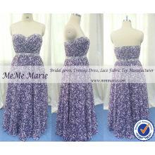 Vestidos de desfile Purple Flower Sweetheart con gasa Patrones vestidos de noche BYE-14060