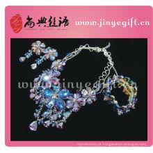 Shangdain exótico artesanal de cristal roxo indiano conjuntos de jóias de colar