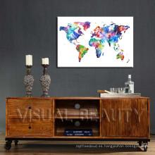 Mapa del mundo popular moderno impreso lona foto colgante
