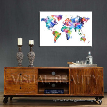 Modern Popular World Map Printed Canvas Photo Hanging