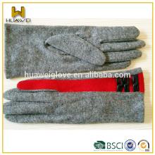 Personalizado dedo del dedo fino toque damas guantes de mano de lana