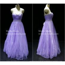 [Disponível] Correia de espaguete Vestido de noiva de dama de honra doce Vestido de baile com strass mais vestido de noite de tamanho