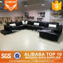 estilo austrália moderno luxo preto com sofá de sala de estar de móveis de couro branco