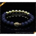 Bracelet en pierre naturelle Onyx matte avec des charmes Bouddha (CB083)