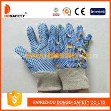 Blaue Baumwolle Gartenhandschuhe mit Druckmuster zurück Dgk418