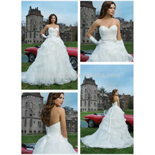 Fabulous 2014 Sweetheart Long Tail Pleated Bodice Pick-up Skirt Organza Ball Gown Wedding Dress Gown With Sash Accent NB0656