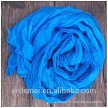 Hijab écharpe pakistanaise en polyester polyester bleu