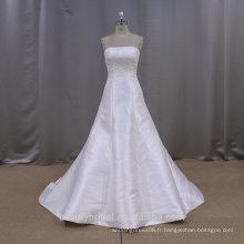 Robe de confection en usine de guangzhou + satin aline silm robe de mariée