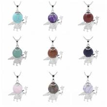Natural Gemstone Silver Fairy stick Angle Stone Pendant fow women men jewelry necklace