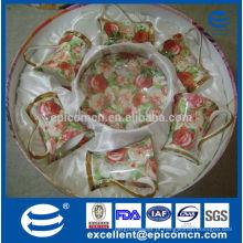 Stock promoção venda de ouro de alta qualidade fino xícaras de porcelana e saucers para seis pessoas