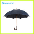 Black 190t Pongee Wooden Umbrella for Outdoor Use