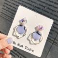 Geometric Round Dangle Earring Fashion Boho Candy Colored Drop Earrings Simple Circle Statement Earrings Shining Jewelry Gift
