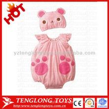 Дешевые 2015 новейших дизайн прекрасный розовый кот мягкий ребенок девочек romper