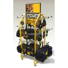 Ökonomische 4-Wege-Metall-Radsport-Rucksack Retailing Rack Merchandising Hanging Hand Bag Display Stand