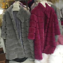 Chaqueta de abrigo de abrigo de pieles de conejo de las mujeres calientes de estilo largo de lujo