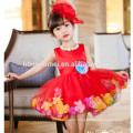 2017hot pink party wear baby girl dress cute design flower decoration Girl Princess Dresses one pcs baby girl dress for wedding