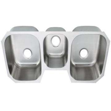 Évier lisse à trois bassins en acier inoxydable