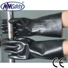 NMSAFETY forro de jersey resistente a los productos químicos industriales con recubrimiento completo de guante de neopreno negro