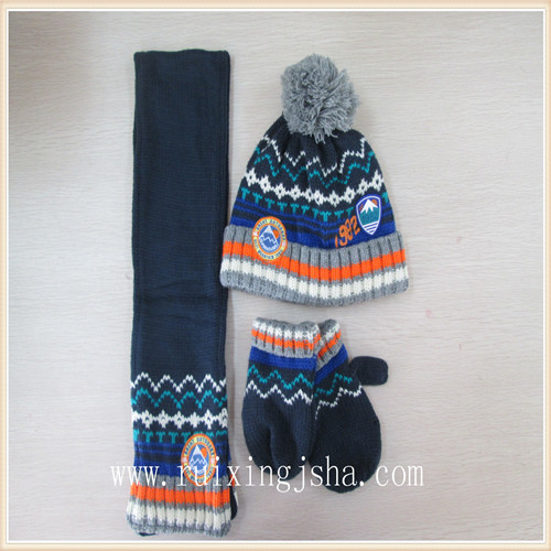 Knitted hat mitten and scarf set