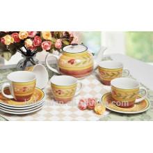 Haonai High qulaity coloridos Tetera de cerámica taza de café Juegos