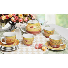 Haonai High qulaity colorful Ceramic teapot Coffee cup Sets