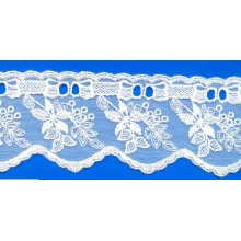 Hot sale ivory lace common designs Embroidered lace fabric trimmings for underwear