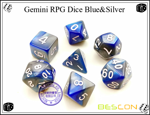 Gemini RPG Dice Blue&Silver