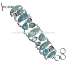 Larimar And Sky Blue Topaz Gemstone 925 Sterling Silver Bracelet