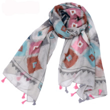 High quality summer cotton voile fabric scarf shawl with tassel plaid digital printed scarf