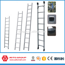 Escalera de poste único, escalera recta de aluminio, escalera de andamio