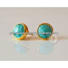 Bezel Jewelry Wholesale, Vermeil Turquiose Stud Gemstone Earrings