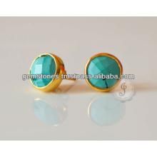 Bezel Jewelry Wholesale, Vermeil Turquiose Stud Gemstone Earrings