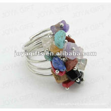 Mix chip stone wrap rings