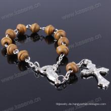 Großhandel Speziell geformte hölzerne Perlen Rosenkranz Armband Rosenkranz Kette Whith Alloy Cross