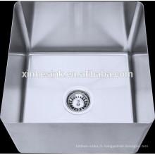 Bol fabriqué à la main pour évier à compartiments, évier à compartiments en acier inoxydable avec unité