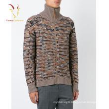 Pull en maille de laine mérinos Cardigan zippé avec des aiguilles épaisses