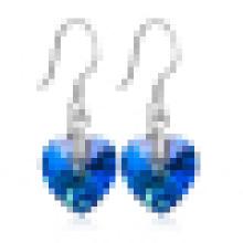 Boucles d'oreilles en argent sterling cœur de l'océan pour femme