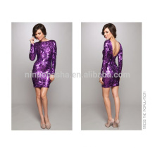 2014 Twinkling Purple Sequin Sheath Cocktail Dress Sexy Bateau Neck Long Sleeve Backless Short Evening Gown Custom Made NB0845