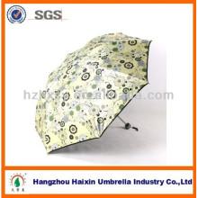 Guarda-chuva de tecido Pongee com revestimento preto para proteção UV