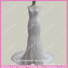 RP0039 Real images lace straps lace appliqued mermaid diamodns train custom made wedding gown real sample picture wedding dress