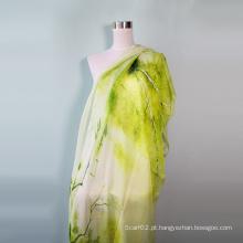 Lenço de Design de Impressão de Paisagem Elegante Feminino
