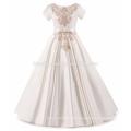 Boutique de alta qualidade elegante infantil roupas bordados fada de cetim vestido de menina flor espanhola