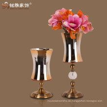 Fabrik direkt liefern hochwertigen Luxus-Glas und Metall Blume Vase