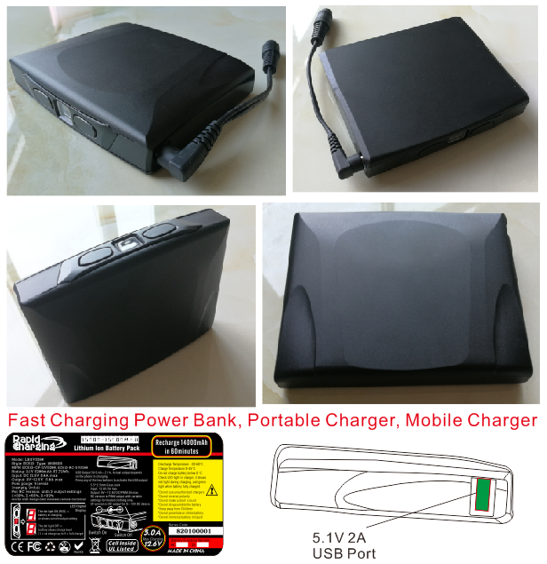 AC613 fast charging power bank heated jacket battery