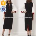 Новая мода черный Миди платье с контрастными рукавами баллон Производство Оптовая продажа женской одежды (TA5234D)