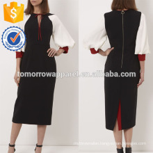 New Fashion Black Midi Dress With Contrasting Balloon Sleeves Manufacture Wholesale Fashion Women Apparel (TA5234D)