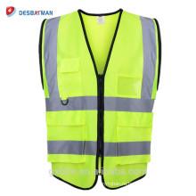 Неон желтый Привет отношению жилет жилет носить поверх другой одежды строительными светоотражающие безопасности жилет со множеством карманов