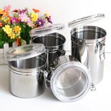 Venda quente de aço inoxidável rodada armazenamento de alimentos chá caixinha de café hermeticamente fechado jar