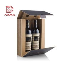 Hecho en China embalaje de caja de regalo de papel de vino negro reciclable