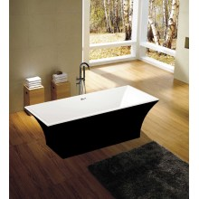 Black Square Freestanding Soaking Bathtub